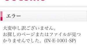 お探しのページまたはファイルが見つかりませんでした。(IN-E-1001-SP)エラーが表示されたときの対処法。